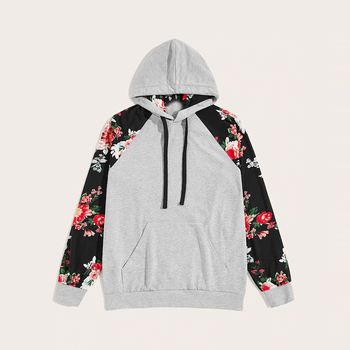 2019 new style long sleeves drawstring hood floral print pullover mens youth hoodies