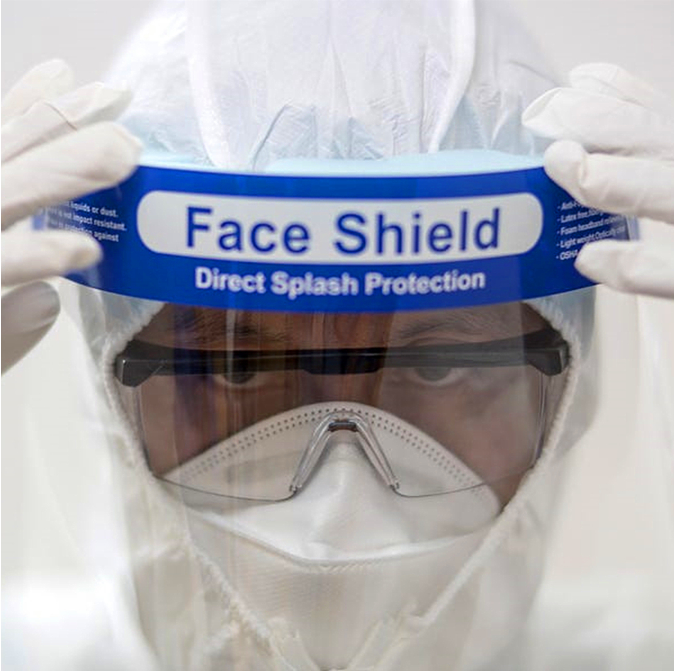 most popular anti fog fluid resistant full cover face+shield plastic protective face shield