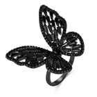 Custom oem high quality brass fashion jewelry black plated butterfly black stone diamond big rings for women