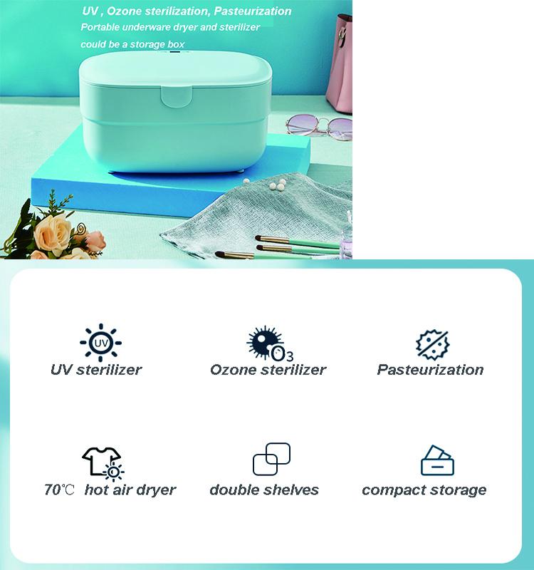Portable Compact 6L UVC Ozone pasteurization sterilizer sterilization box with dryer