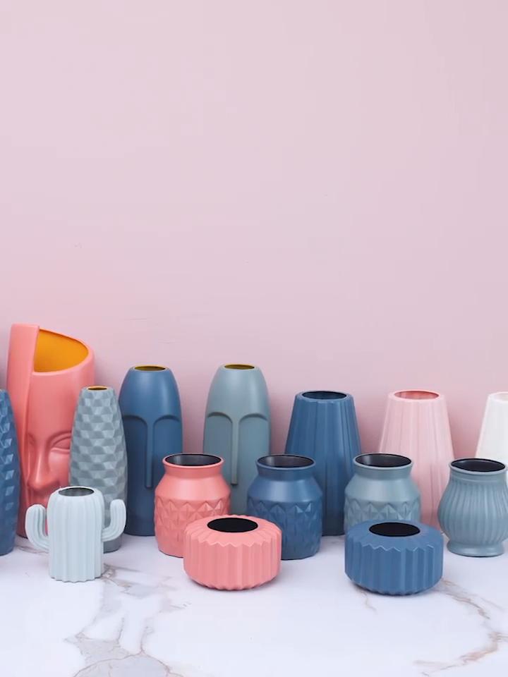 Unbreakable Design Plastic Floor Flower Vases Tabletop Flower Vase Nordic Style for Wedding Home Hotel Office Decoration