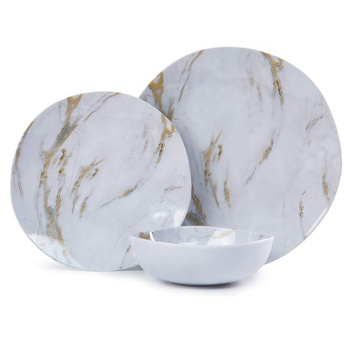 Melamine Dinnerware Set - 12pcs Dishes Dinnerware Set for 4, Everyday Use,Marble ceramic plate