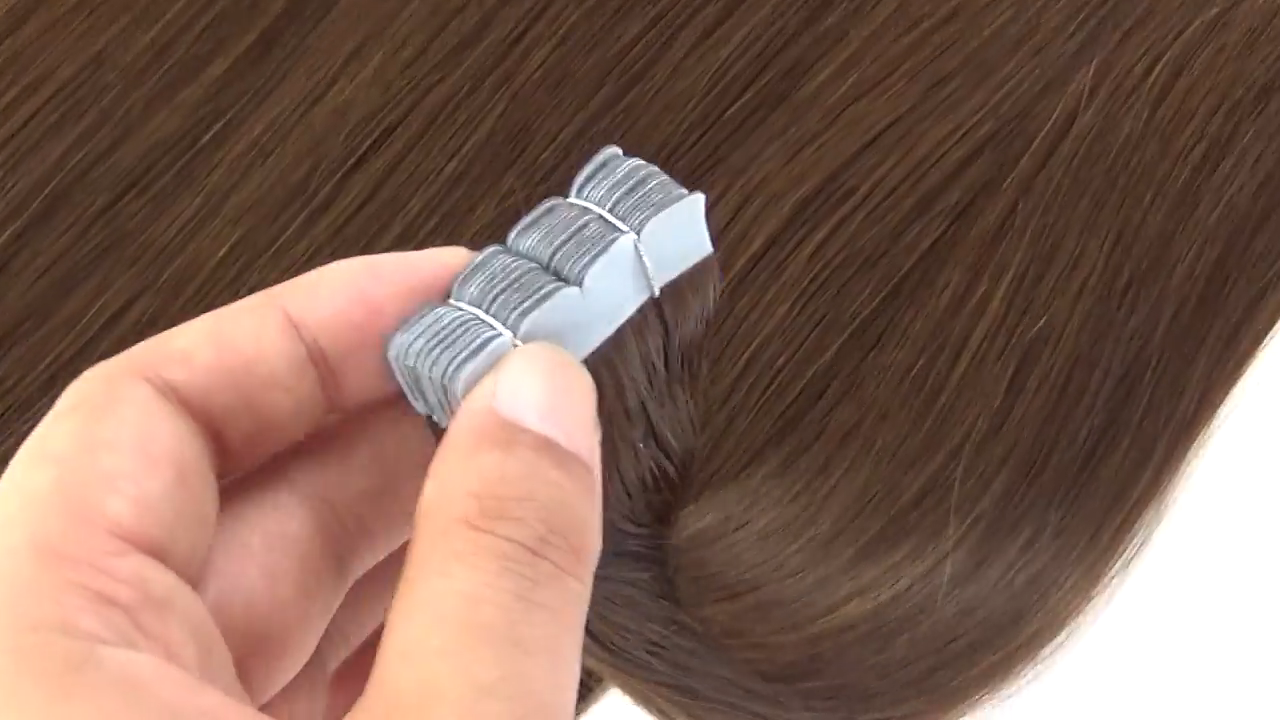 Direct Hair in Factory Wholesale double drawn high quality straight remy human hair extensions tape in