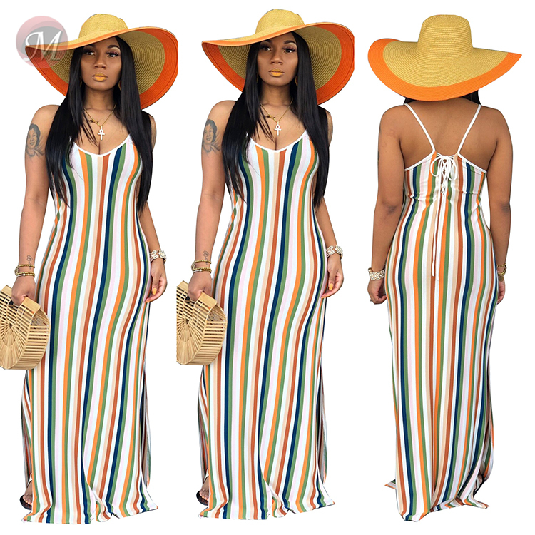 0043007 2020 Latest design spaghetti strap v neck striped print backless bandage Sexy Summer Women Girls' Casual maxi long Dress