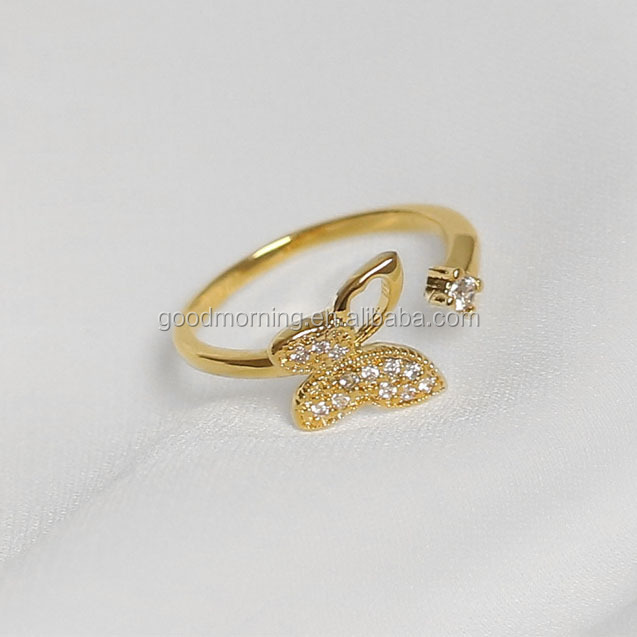 Elegant Adjustable Zircon laying gold plated brass Butterfly Ring