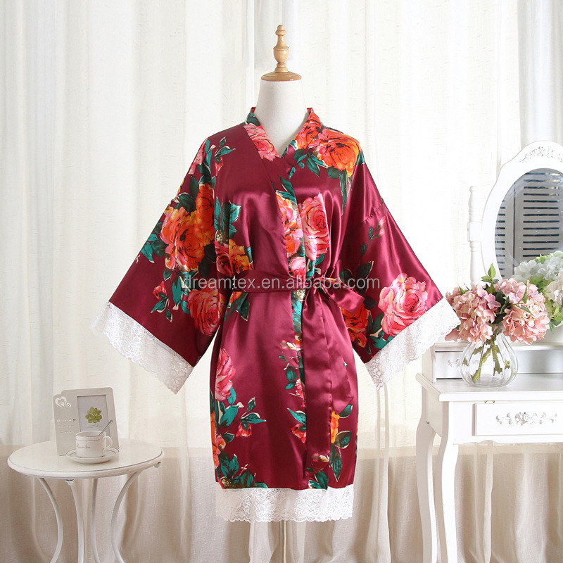 Wholesale foreign trade hot style lace hand-painted peony lace artificial silk bridal dressing gown home wear  robes