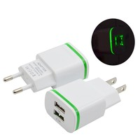 2.4A 2USB Charger EU UK US Mobile Phone Wall Charger with led light