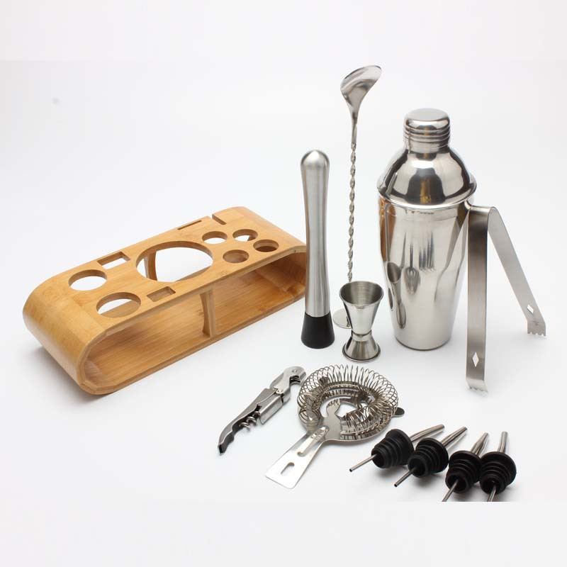 12 Pieces High Quality Stainless Steel Cocktail Shaker Set With Bamboo Wood Stand