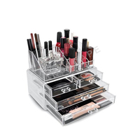 wholesale custom clear acrylic cosmetic makeup organizer with drawers