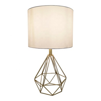 Promotion Wholesale Modern Metallic Gold Geometric Metal Base Fabric Shade E26 Table Lamp for Home Decoration