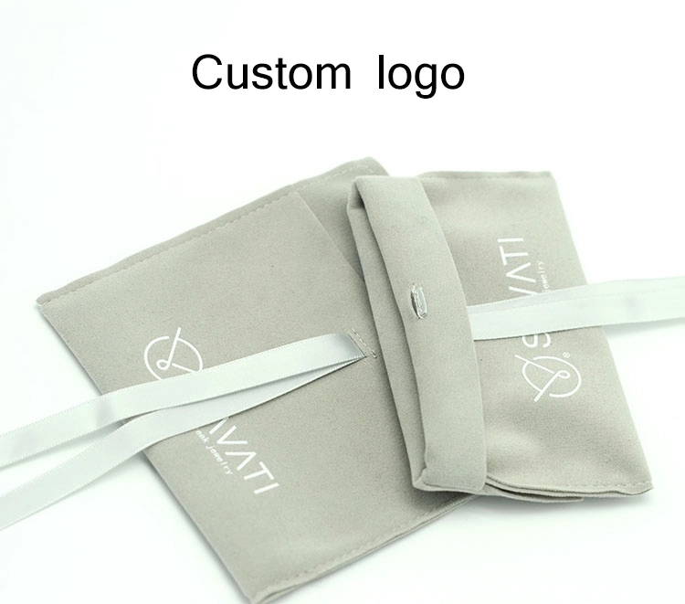 Custom gray suede jewelry pouch with silver logo printed