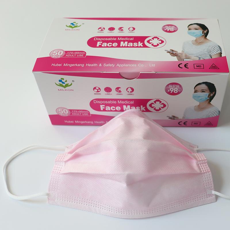 disposable spunlace non woven pink color 3 ply surgeon face mask