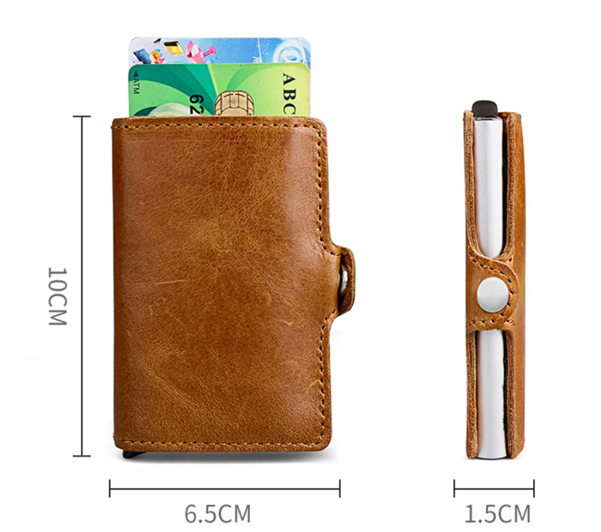 Genuine Leather Wallet RFID Blocking Aluminum Credit Cards Holder Pouch Box With Button European Style For Birthday Christmas