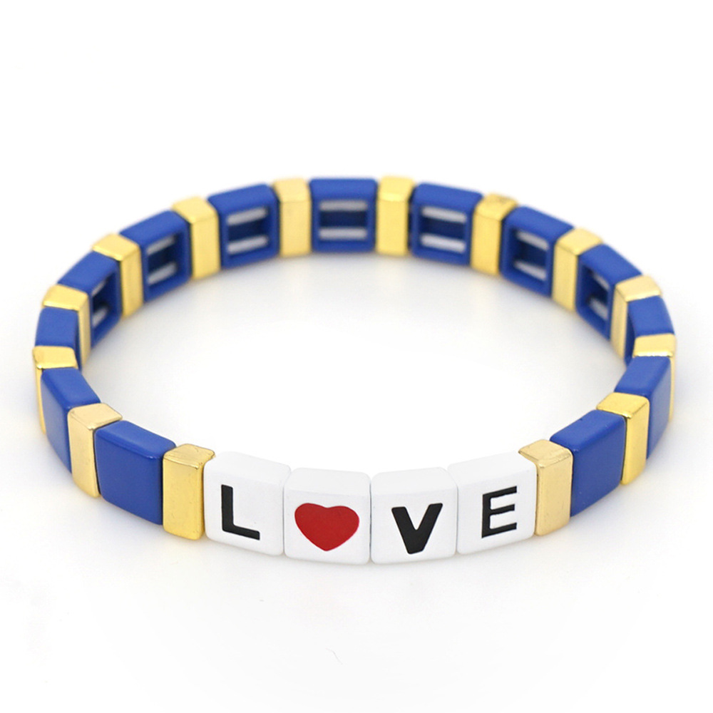 Custom Miyuki Tile Bracelet Metal Colorful Painted LOVE Handmade Enamel Rainbow Block Beaded Stretch Bracelet