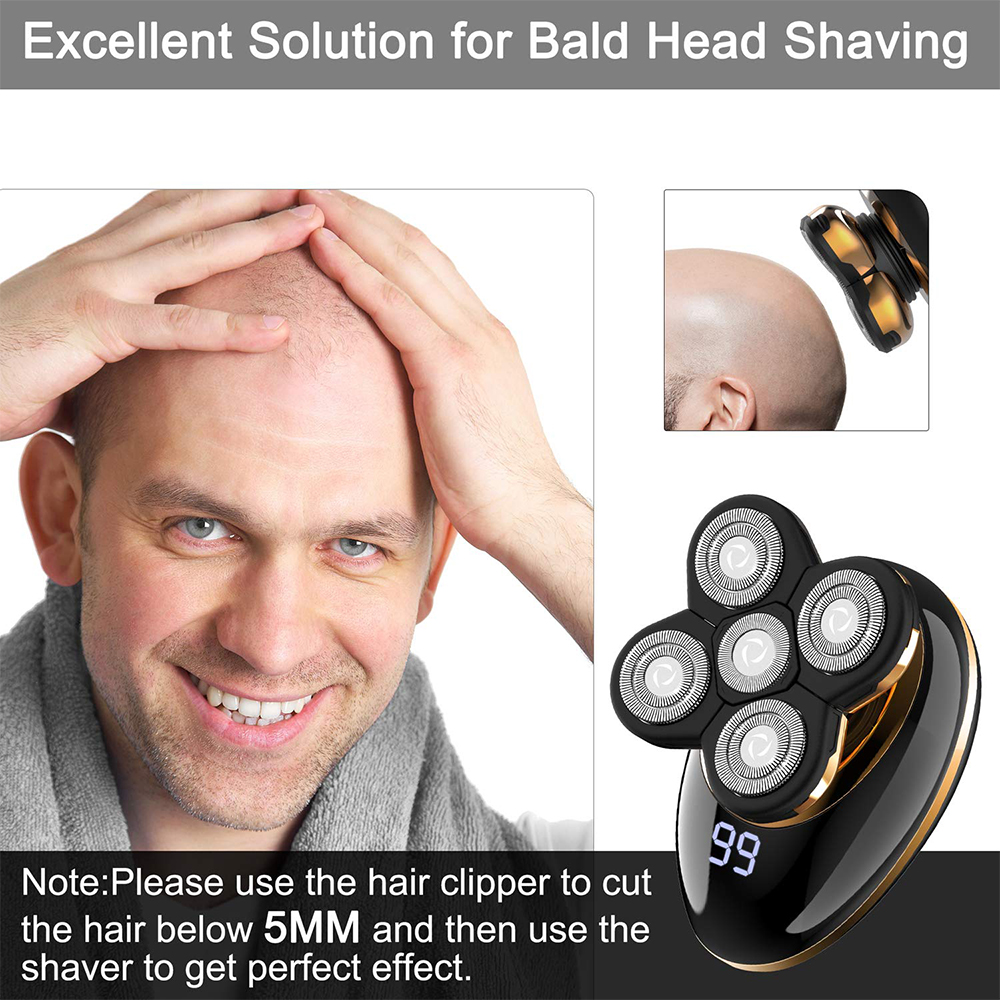 2020 New Products Rotary Razor Beard Nose Hair Trimmer Face USB Groomer 5 Shaver Heads LED Electric Shaver Razor for Men