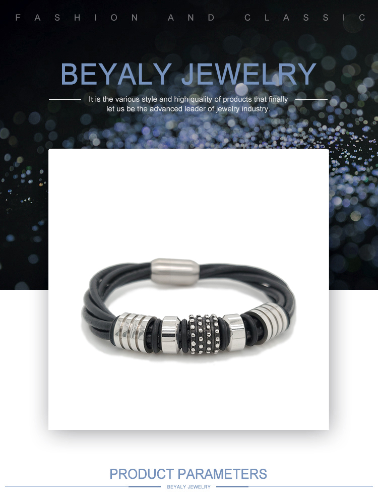 product-Stainless Steel Beads Design Wholesale Fashion Leather Cuff Bangle-BEYALY-img