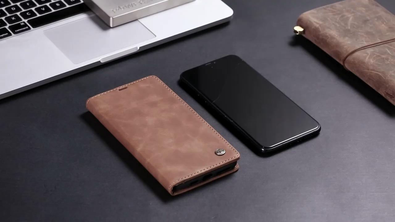 CaseMe için iPhone 12 kılıf Retro manyetik dayanıklı deri kılıf cep telefonu Samsung C9 pro A9 A8 A7 durumda ucuz fiyat