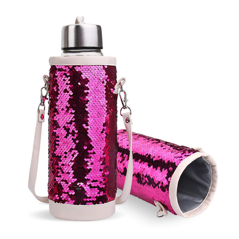 Insulated Mermaid Water Bottle Carrier Drink Bottle Sleeve Insulator Cooler Bottle Holder Carrier Tote Bag with Shoulder Strap