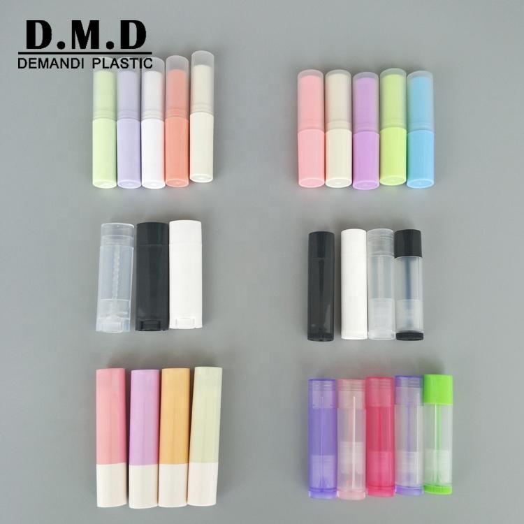 Lip balm containers wholesale empty clear translucent black white 3 gram 4.5gram 5 gram oval lip balm tube