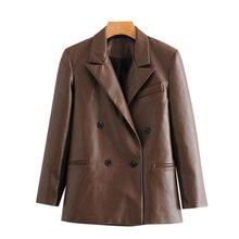 Женский двубортный пиджак KPYTOMOA, винтажный пиджак из искусственной кожи с длинным рукавом, верхняя одежда для женщин 2020(Китай)