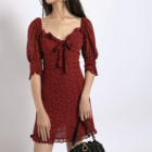 French Dot Vintage Ladies Casual Dress Half Sleeve Front Tie Bow Ruffle Women Mini Daily Dress