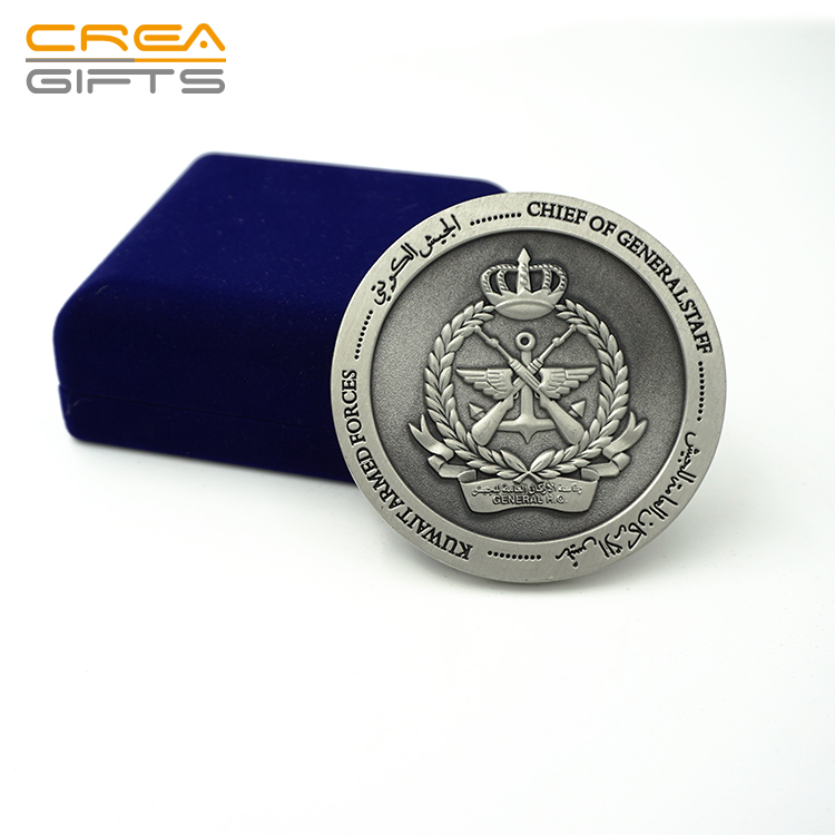 2019 High Quality Custom 3D Embossed Double Sides Metal Souvenir Challenge Award Antique Coin with PU Leather Box For Events