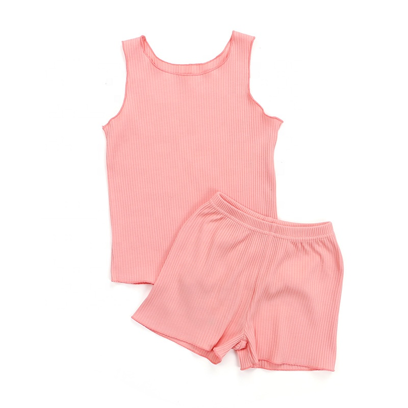 Summer sleeveless tank top and ribbed short wholesale kids ribbed girl clothing
