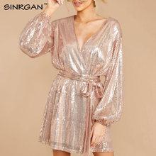 Женское платье с блестками SINRGAN, розовое Золотое Платье с запахом, Клубное вечернее платье с длинным рукавом, короткое платье(Китай)