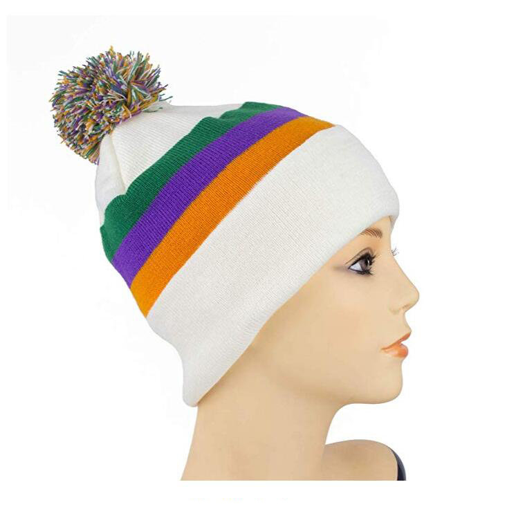 Small MOQ Custom Your Logo Mardi Gras Unisex Knitted Beanie Cap Slouchy Knit Hat