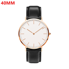Watch Ultra Thin Watches 2020 Customized Logo Classical Ultra Thin Minimalist Simple Design 40MM 36MM Rose Gold Case Black Leather Strap OEM Mens Watch