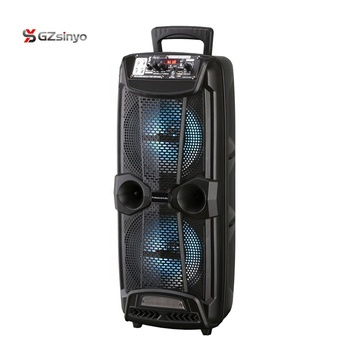 2019 new style double 8 inch wireless portable trolley bluetooth speaker