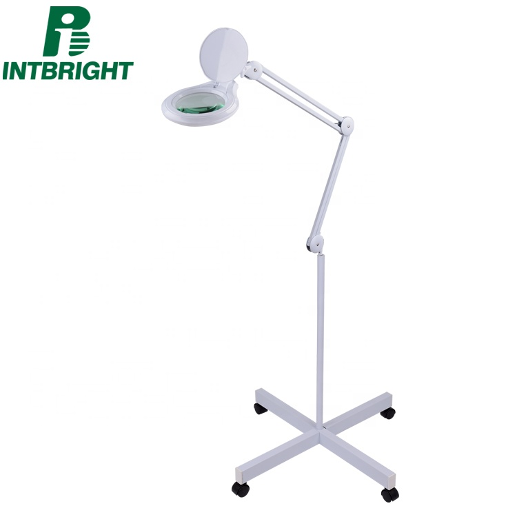 china manufacture 8 diopter beauty lamp magnifier with floor standing nail salon furniture magnifying lamp
