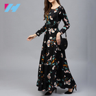 High Quality Women Fashionable Long Sleeve Black Printed Maxi Adult Dress