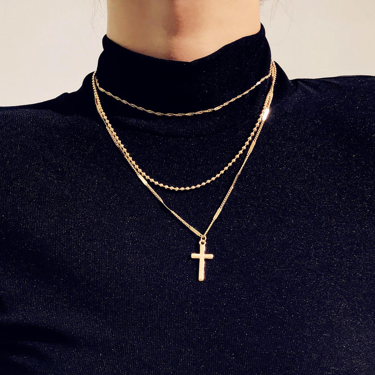Ins Style Assez Délicat Layered Choker Colliers Croix Pendentif Multicouche Chaîne Collier En Or