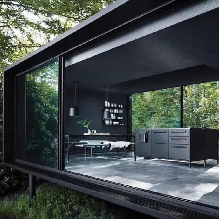 चारों ओर ग्लास शिपिंग कंटेनर छोटे घर कंटेनरों घर विस्तार रहने वाले कंटेनर घर