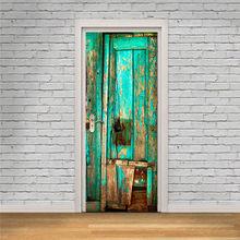 Зеленые старые деревянные двери наклейки обои на дверь украшения дома самоклеющиеся обои водонепроницаемый ремонт плакат(Китай)