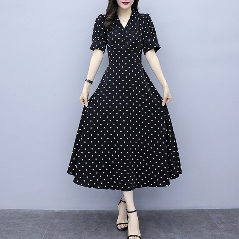 Wholesale Custom New Fashion Women Lady Girls Summer Women Short Puff Sleeve Dot Printing Dresses V-Neck Long Casual Dress