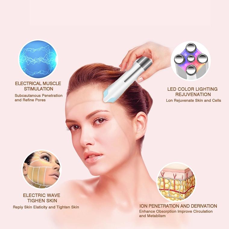 Ems rf светодиодной подсветкой Электрический массаж лица машина вибрации v подтяжка лица средство для удаления морщин ультразвуковой массажер для лица