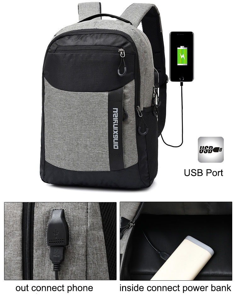 Accept Custom Logo Factory Wholesale Unisex USB Charging Port Teens College Student Backpack