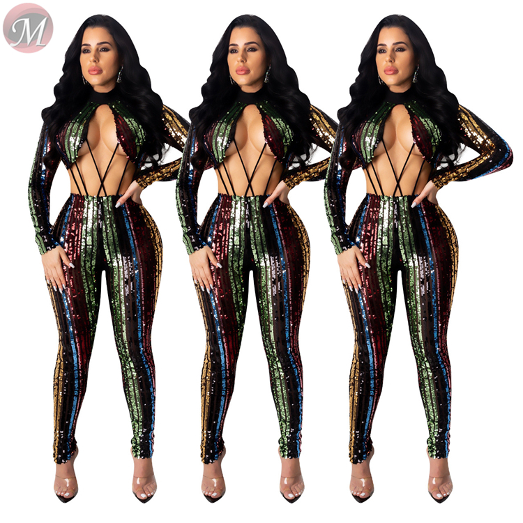 9111230 new open waist back zip colorful sequin night clubwear womens sexy bodycon trendy jumpsuit