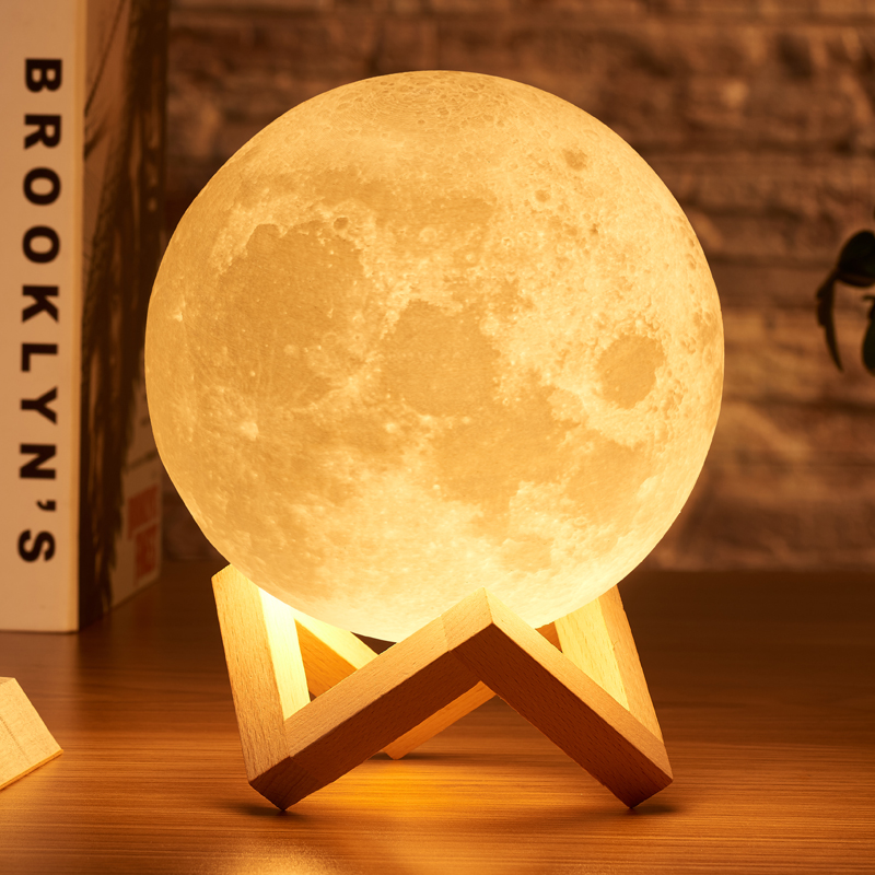 New Dropship 3D Print Moon Lamp <strong>Colorful</strong> Change Touch Usb Led Night <strong>Light</strong> Home Decor Creative Gift