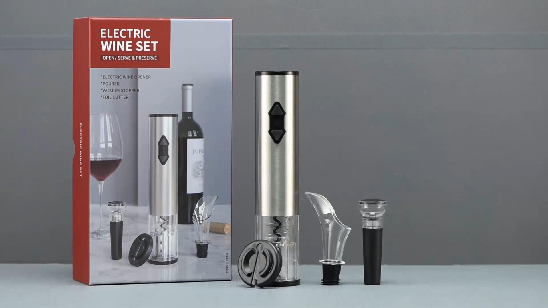Technologie produkte elektrische korkenzieher set geschenk artikel 4 in 1 wein werkzeuge werbe geschenk set