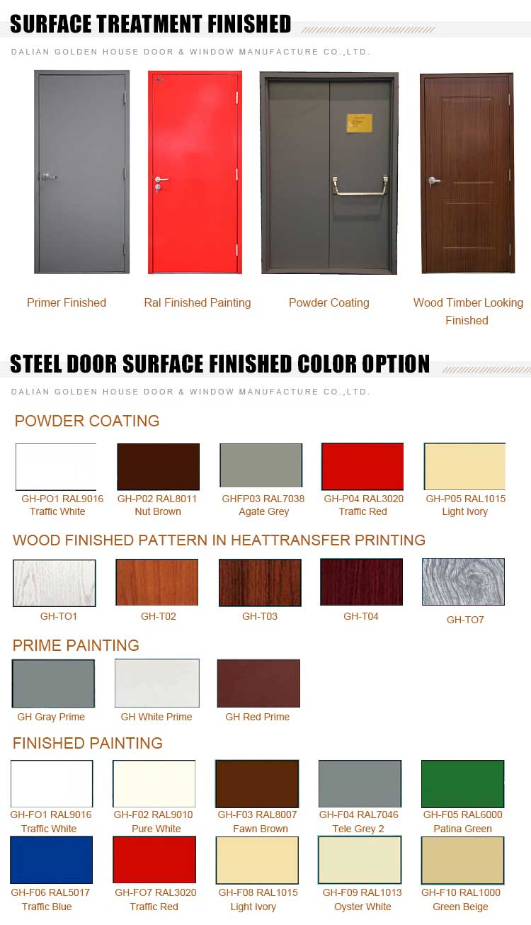 GH steel fire door surface tratement finished color