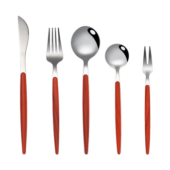 304 Stainless steel Cutlery set with Plastic handle Wooden color