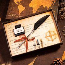 Ретро перо стиль каллиграфия Dip Ручка чернила для письма Подарочная коробка наборы металлическая авторучка набор канцелярские принадлежно...(Китай)