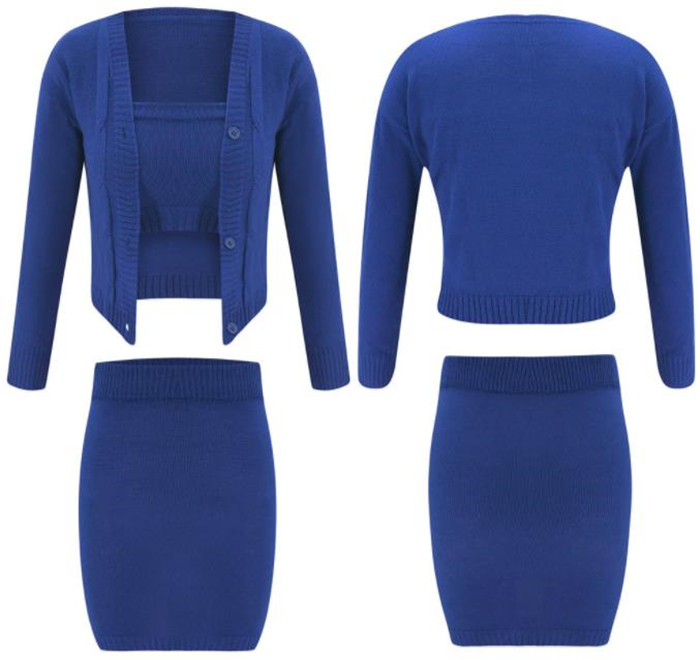 3 Piece Set Women Outfits Strapless Knitted Short Coat Crop Top And Skirt Womens Clothing