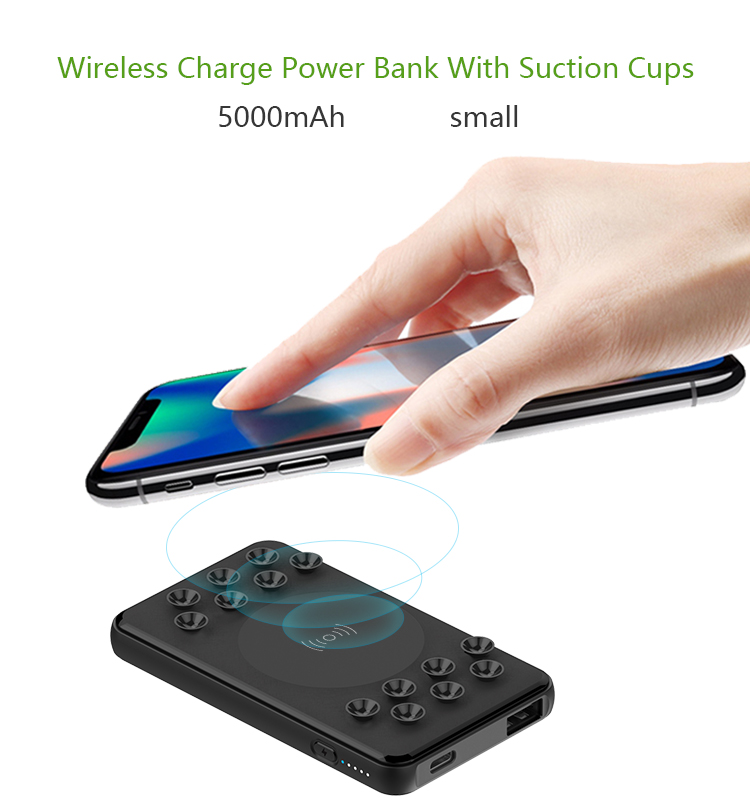 Slim Suction Cups Small 5000mAh Mini Wireless Power Bank