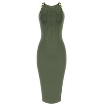 Высокого качества от популярный зеленый хаки без рукавов вискоза Бандажное платье вечернее платье(Китай)