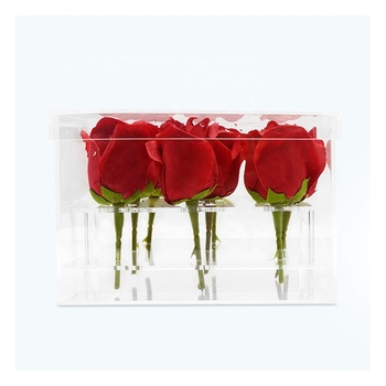 Acrylic 9 Rose Clear Plastic Crystal Luxury Wholesale Flower Display Box