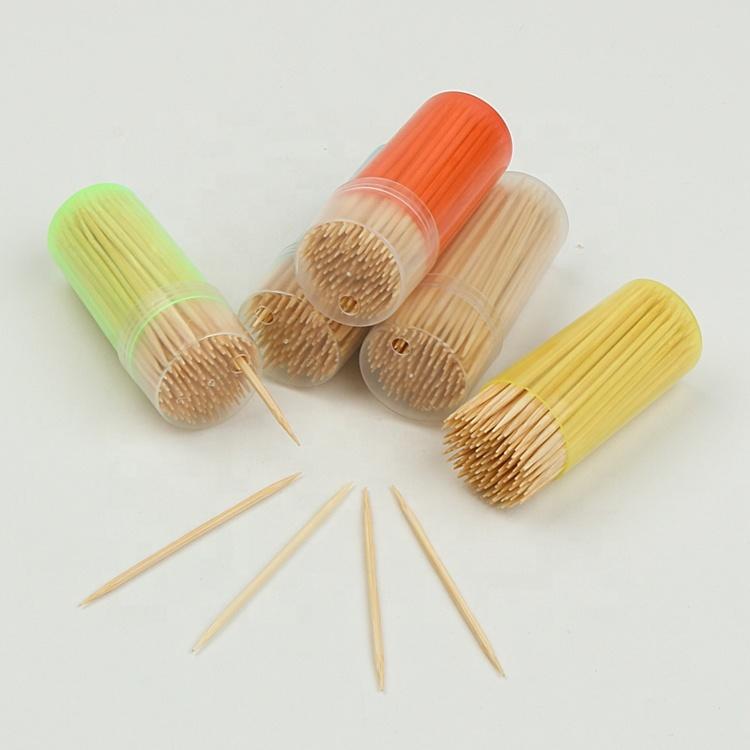 100% eco amigable natural regalo utilizado de bambú palillos de dientes con un solo punto de